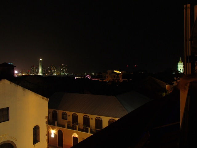 The Panama City skyline, from the rooftop bar at Gatto Blanco.