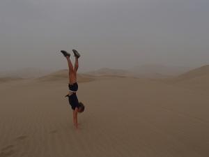 Kim enjoying the sand