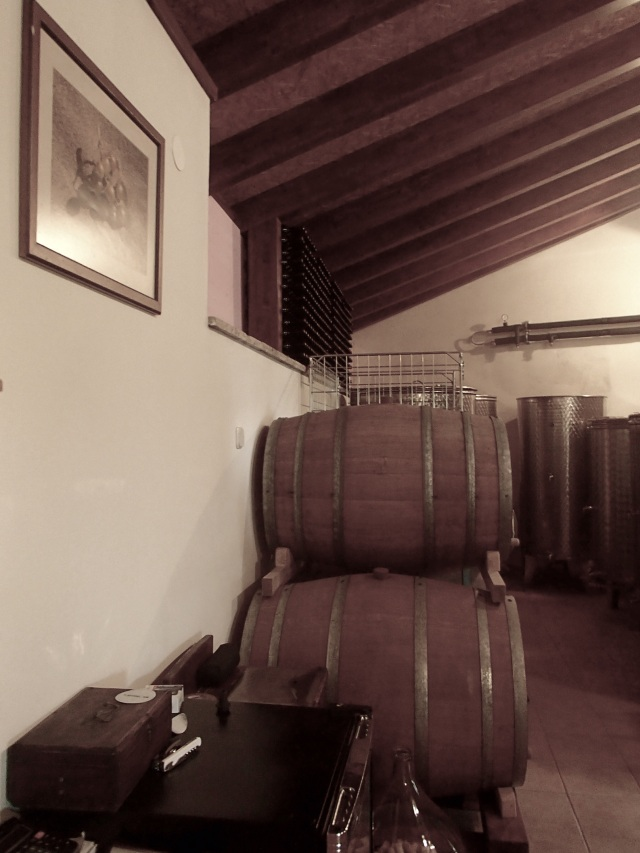 Wine storage at the first vineyard.