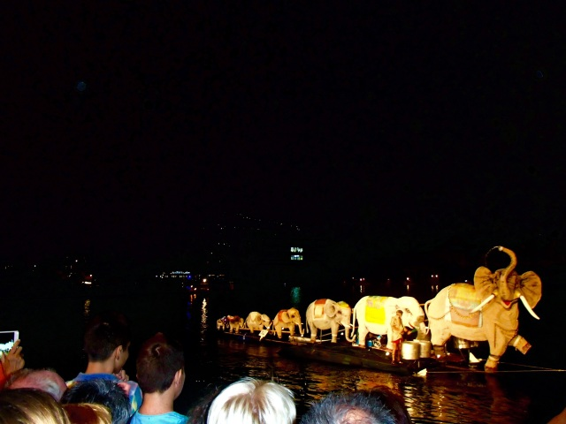 Floats from the boat parade that kicked off an all-night end of summer celebration in Kotor.