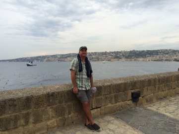 Me hanging out on one of the ramparts of a castle in the water - Naples, Italy