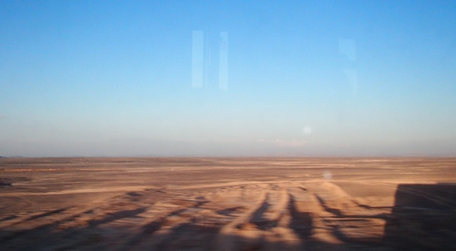Tried to capture all the scenery on the bus ride, turns out you can sum it up with one picture; desert