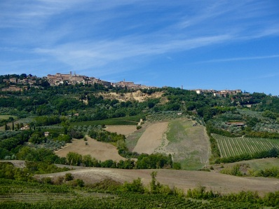 Montepulciano sits on top the hillside