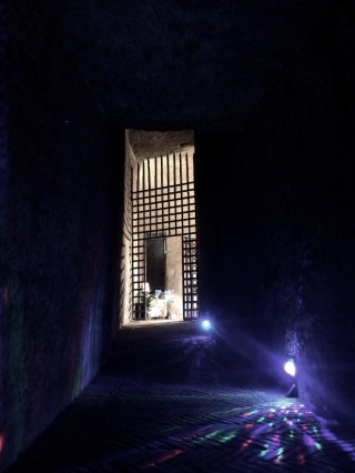 The entrance to an art gallery in bottom of the castle over the water in Naples