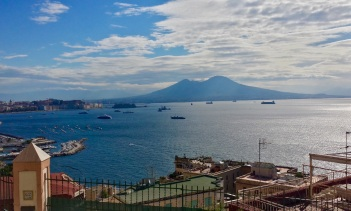 Mount Vesuvius and the bay from our balcony