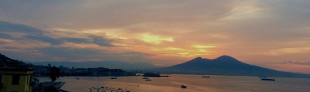 Sunset panorama of Mt Vesuvius and Naples from our balcony
