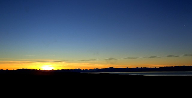 Sunset over the lake in El Calafate, Argentina.